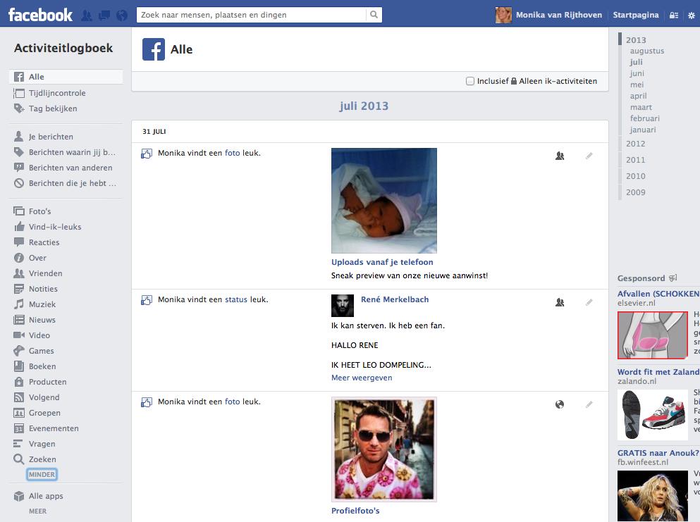 Facebook-activiteitenlogboek