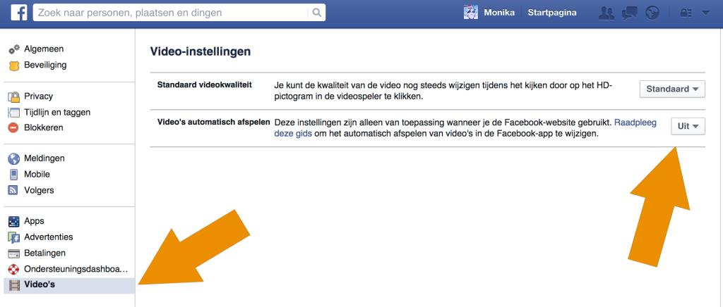 Hier zet je het automatisch afspelen van Facebook video's uit.