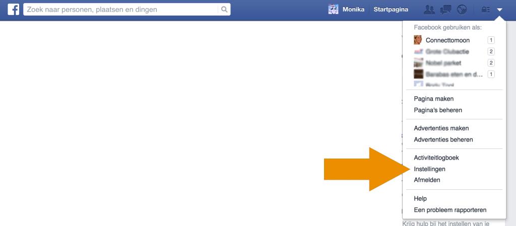 Zo kom je bij je Facebook instellingen